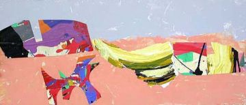 Dogs en la playa.59x27cm. Mixta tabla 2008